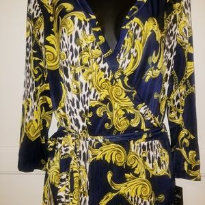Mlle Gabrielle Sexy Printed Navy Blue & Yellow Wra